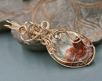 Red Crazy Lace Agate Pendant in 14K Rose Gold with Red Jasper Earrings