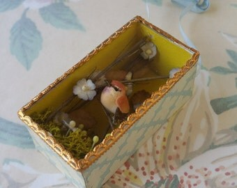 Itty Bitty Teeny Tiny Birdie Shadow Box Ornament made with Vintage English Wallpaper, Dresden and Vintage French Ribbon