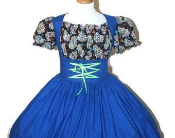 Day of the Dead Halloween Costume  Dress  Día de Muertos Cinco De Mayo Costume Sugar Skulls Womens Large Blue Black Dress