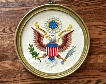 American Eagle Patriotic Embroidery E. Pluribus Unum Embroidered Wall Plaque Great Seal Eagle