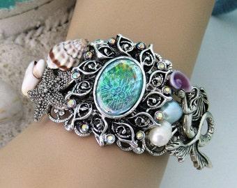 Mermaid Bracelet, Silver Cuff Bracelet, Silver Jewelry, Mermaid Jewelry, Assemblage Bracelet, Bracelet Cuff, Cuff Bracelet, B285