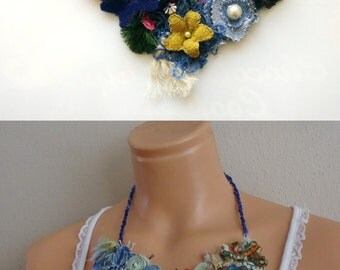 Flower bib necklace Handmade Gift for her Statement Necklace Romantic Shabby chic Textile jewelry