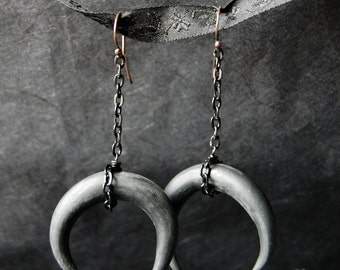 Black Moon - earrings - crescent moon, victorian, neovictorian, antique, vintage,dark, mystic, gothic, black, odd, pagan, moon
