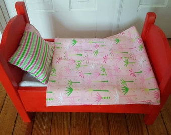 18 Inch Doll Bedding, Palm Trees Pink, Doll Bedding Set, Toys and Games, Doll Linens, 3 Piece Bedding Set for Dolls, 18 Inch Fashion Doll