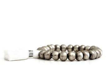 Tassel Bracelet / African Beads Bracelet / Bohemian Jewelry / Yoga Mala Bracelet / Silver Bracelet / Gypsy Style / Tassel Jewelry