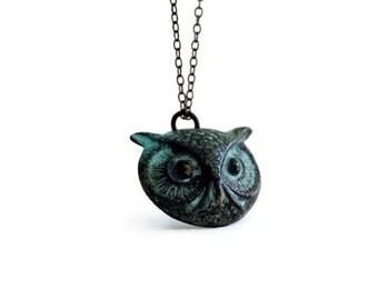 Owl Necklace, Verdigris Patina Owl, Verdigris Jewelry, Patina Necklace, Verdigris Patina, Verdigris, Whimsical Jewelry, Bird Jewelry, etco
