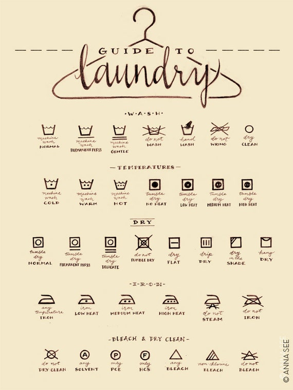 Laundry Care Guide Laundry Symbols Chart Calligraphy By
