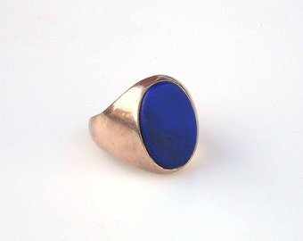 Vintage Gold Signet Ring with Lapis - Size 8