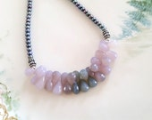 Natural Lavender and Blue Chalcedony Briolette and Pearl Bib Necklace