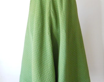 1950's Quilted Skirt • Mid Century Green and Gold Skirt • Vintage
