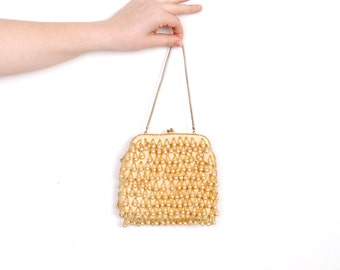Vintage 1960s Purse / 60s Beaded Pearl Evening Bag / Gold