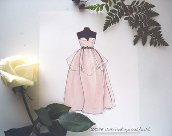 ORIGINAL Fashion Illustration- 40s 50s Pink Wedding Gown- Original The Blush Gown PRICE REDUCED was 75