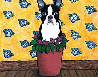 "Original Folk Art  Acrylic Painting, Dog Art, ""Potted Boston Terrier"""