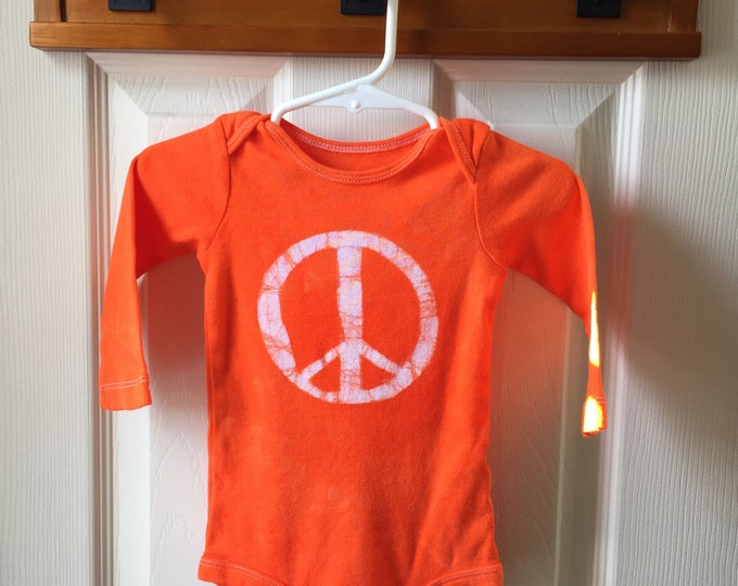 Peace Sign Baby Gift, Orange Baby Peace Sign Bodysuit, Peace Sign Baby Bodysuit, Baby Shower Gift, Gender Neutral Baby Gift (12 months)