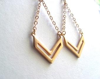 Gold plated chevron chandelier dangle earrings 14k gold plated chain, geometric jewelry