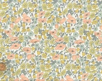 Liberty Tana Lawn Fabric, Liberty of London, Liberty Japan, Poppy & Daisy, Cotton Print Scrap,  Floral Design, Quilt, Patchwork, kt2104h