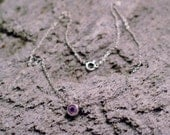 15.75 inch dainty light purple amethyst gemstone solitaire  fine chain link necklace 925 sterling silver #jewelry