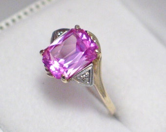 10k gold size 7.5 pretty pink sapphire natural genuine diamond accent ring band abstract deco triangle side setting   style