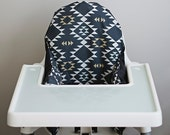 IKEA Antilop Highchair Cover // Dark Blue Mint and Gold Navajo // High Chair Cover for the PYTTIG Cushion // Pillow Slipcover