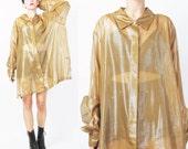 1990s Sheer Gold Blouse Plus Size See Through Shirt Long Sleeve Button Down Yellow Slouchy Sheer Shirt Layering Evening Blouse (XL/XXL)