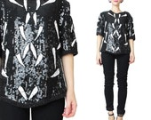 80s Black Sequin Top Vintage Beaded Blouse Abstract Sequined Blouse Short Sleeve Black and White Evening Party Slouchy Sequin Shirt (S)