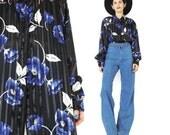 90s Sheer Floral Blouse Sheer Black and Blue Blouse Rose Floral Blouse Vintage Womens Floral Dress Shirt Sheer Stripes Collared Shirt (L/XL)