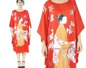 Vintage Silk Caftan Dress Red Silk Dress Chinese Asian Lady Print Dress Caftan Muu Muu Dress Beach Coverup Comfy Slouchy Silk Dress (M/L/XL)