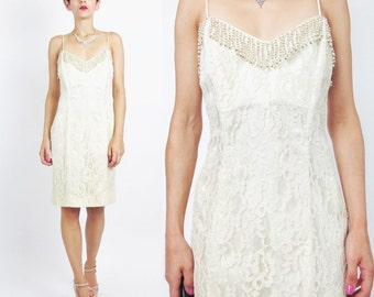 80s 90s Lace Wedding Dress Beaded Wedding Dress Cream Floral Lace Mini Dress Beige Sleeveless Party Sexy Corset Lace Up Back Dress (S) E693