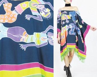 Hippie Caftan Dress Colorful Beach Kaftan Dress Plus Size Slouchy Dress Abstract Print Dancing Afropunk Dress Ethnic Draped Muu Muu (L/XL)