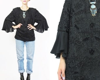 90s Black Beaded Silk Sequin Blouse Ruffle Flared Sheer Chiffon Sleeves Beaded Top Glam Disco Party Blouse Embellished Evening Blouse (L)