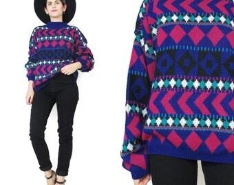 50% OFF SALE 80s Neon Striped  Sweater Bright Ski Geometric Abstract Print Vintage Knit Womens Pullover Mock Neck Jumper Purple M/L E50