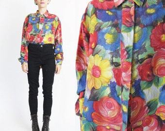 Vintage Floral Silk Blouse 1980s Silk Shirt Long Sleeve Blouse Button Down Front Collared 80s Womens Blouse Watercolor Flowers Artsy (M)