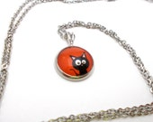 Cat Necklace, Cat Pendant, Silly Black Kitty Cat, Cute Black & Orange Halloween Necklace, Halloween Jewelry, Tween Jewelry, 18 inch Necklace