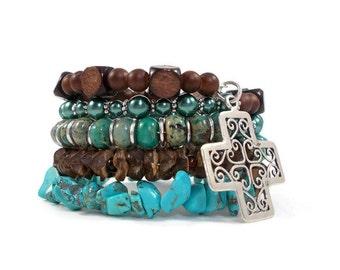 Turquoise Bracelet, Boho Jewelry, Jasper Bracelet, Brown and Blue, Sterling Silver Cross Bracelet, Celtic Cross, Earthy Jewelry, Teen Gifts