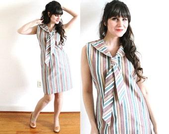 60s Dress / 1960s Ascot Tie Dress / 60s Mod Big Bow Dress