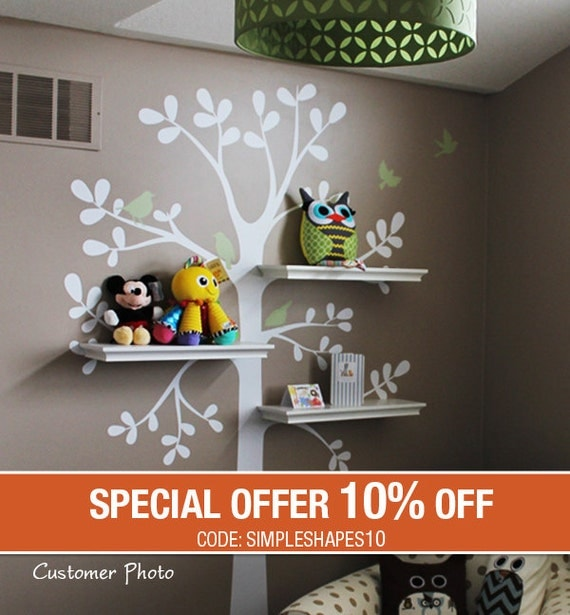 Tree Wall Decals - The ORIGINAL Shelving Tree with Birds