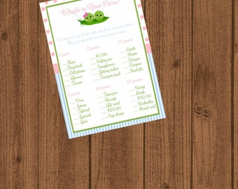 Two Peas in a Pod Baby Shower, Two Peas What's in Your Purse, Baby Shower Game, Twins Baby Shower,