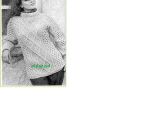 Vintage KNITTING PATTERN - Irish Sweater for Women or Men Aran Cable Fisherman Knit Pullover PDF download