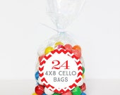 "Cello Bags (4""x8"") - Treat Bags or Candy Bags for Party Favors - Set of 24"