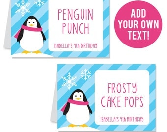 INSTANT DOWNLOAD Pink Penguin Buffet Cards - EDITABLE Printable File
