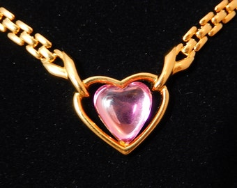 Trifari Heart Necklace Pink and Gold