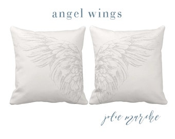 Pillow Cover Grey Angel Wings Pillows set of two