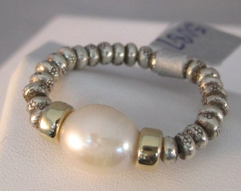 Freshwater Pearl Ring in Sterling Silver and 14k Gold