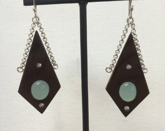 Walnut Wood and Calchedony in Sterling Silver Hand Forged Dangle Earrings