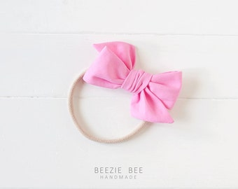 """The Sunday Bow in """"Bubblegum Pink"""" - Hand Tied Fabric Bow - Babies, Toddlers, Girls - Nylon Headband or Clip"""