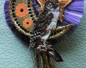 Halloween Vintage Victorian Look Ormament-German Scrap Owl, Tinsel, German Dresdens, German Spun Glass, Vintage Crimped Lametta