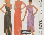 Vintage Designer Sewing Pattern By Bob Mackie / Wrap Dress / Gown / McCalls 7374 / Size 12 Bust 34