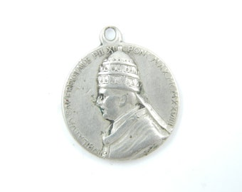Vintage Pope Pius XI Catholic Medal - Papal Medallion - Religious Charm - Catholic Jewelry  - W40