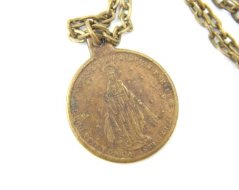 Jesus Christ - Our Lady of Grace Catholic Medal - Religious Charm - Missionary Africa Asia Necklace - Catholic Jewelry - 13