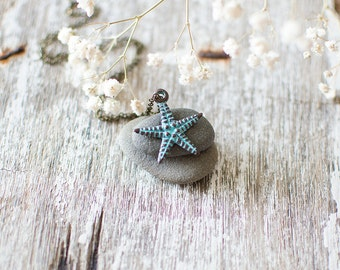 Starfish Necklace. Sea Necklace. Summer Necklace. Sea Animal Necklace. Nautical Necklace. Ocean Inspired Jewelry. Seaside Necklace. Beach.